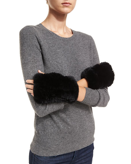 Neiman Marcus Cashmere Collection Luxury Rabbit Fur Cuffs