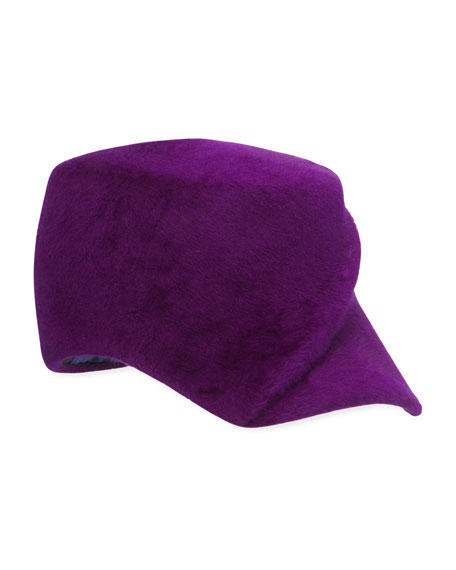 Philip Treacy Hand Blocked Ridged Velour Baseball Cap