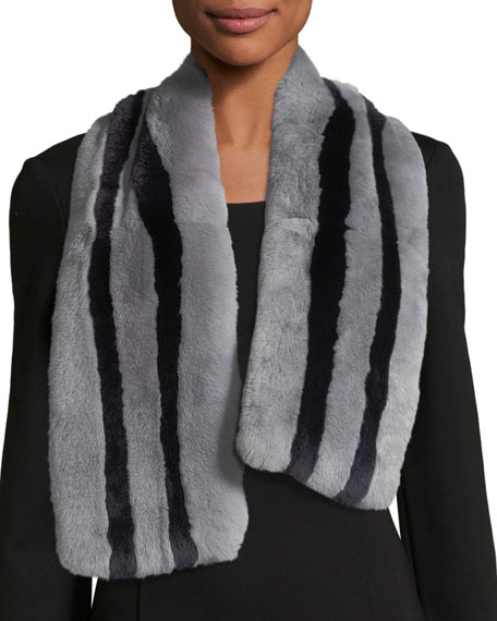 Monroe Striped Fur Scarf