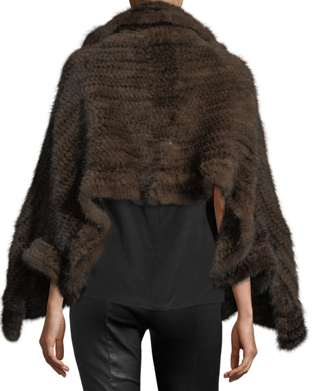 Knit Mink Fur Wrap w/ Pockets, Beige