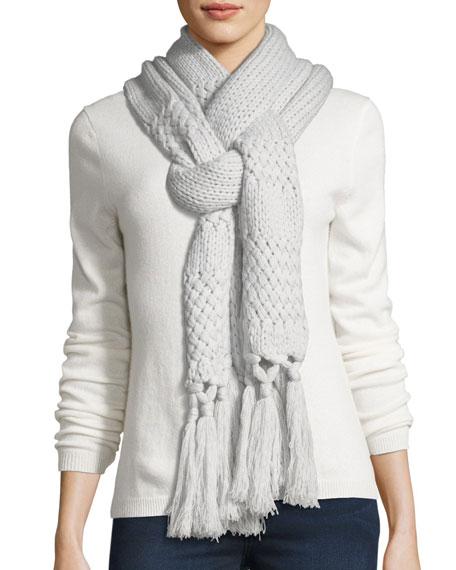 Il Borgo Cashmere Knit Scarf w/ Fringe Tassels