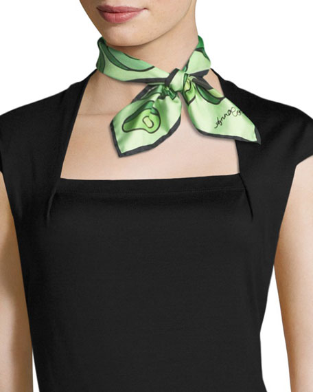 Anna Coroneo Avocados Small Square Silk Scarf