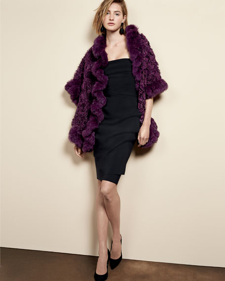 Rex Rose Fur & Chiffon Stole