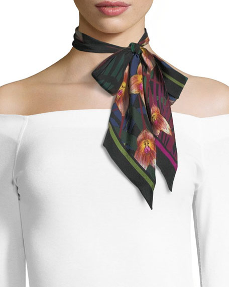 Rockins Monkey Orchid Super Skinny Silk Scarf, Black