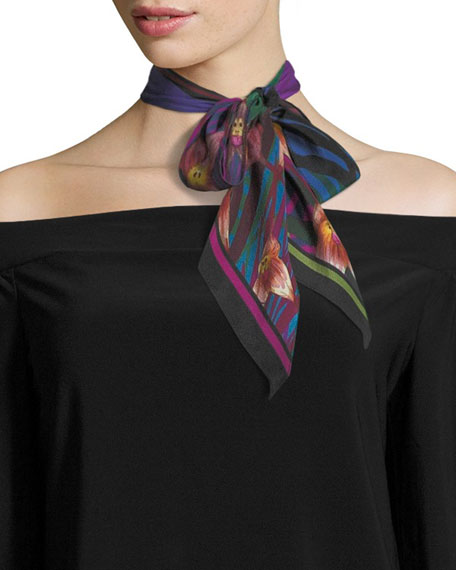 Rockins Monkey Orchid Super Skinny Silk Scarf, Fuchsia