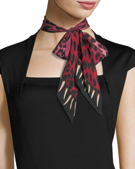 Rockins Leopard Teeth Super Skinny Silk Scarf, Pink