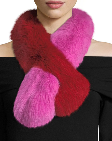 Charlotte Simone Polly Pop Two-Tone Fur Pull-Through Scarf,