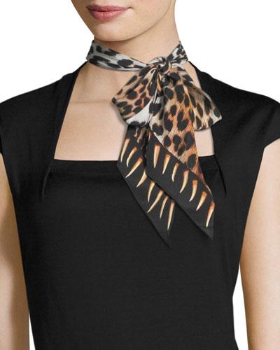 Leopard Teeth Super Skinny Silk Scarf, Gold