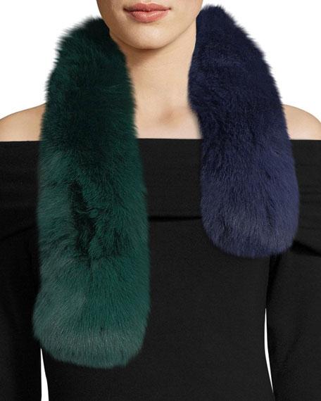 Polly Pop Two-Tone Fur Pull-Through Scarf, Blue/Green