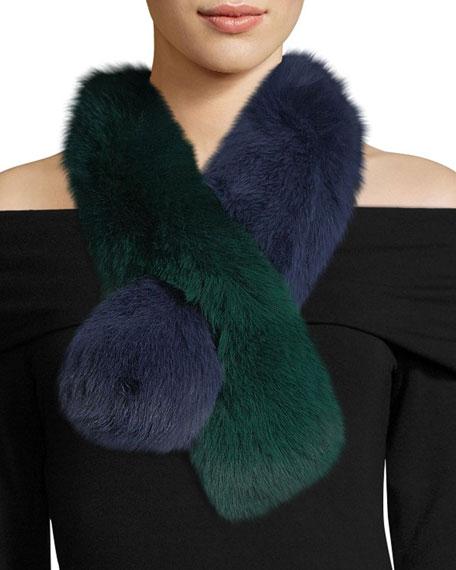 Charlotte Simone Polly Pop Two-Tone Fur Pull-Through Scarf,
