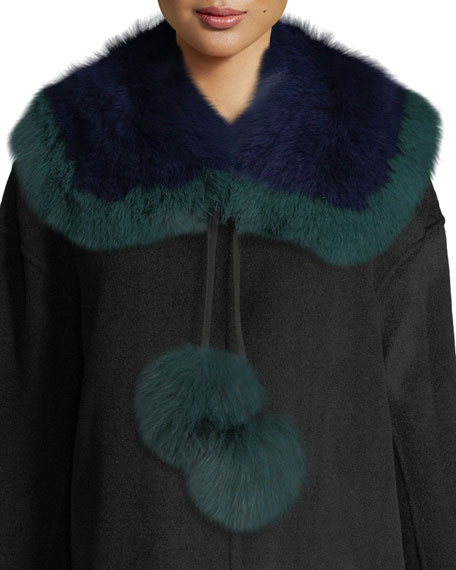 Puffalump Fur Neck Scarf w/ Pompoms, Blue/Green