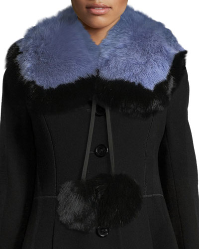 Puffalump Fur Neck Scarf w/ Pompoms  Blue/Black