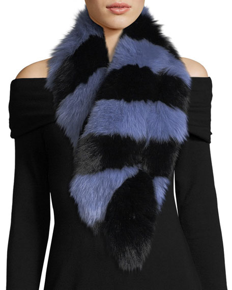 Charlotte Simone Popsicle Fur Scarf, Blue/Black