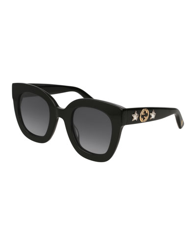 Rectangle Acetate GG Sunglasses w/ Crystal Stars  Black Pattern