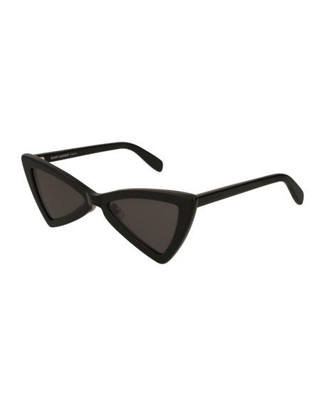 Saint Laurent SL 207 Triangle Acetate Sunglasses, Black