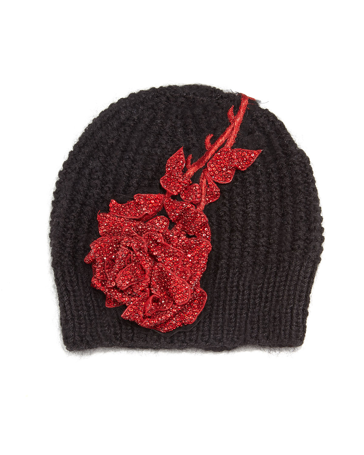 7299c4bcaa5bc Jennifer Behr Crystal Rose Knit Beanie Hat