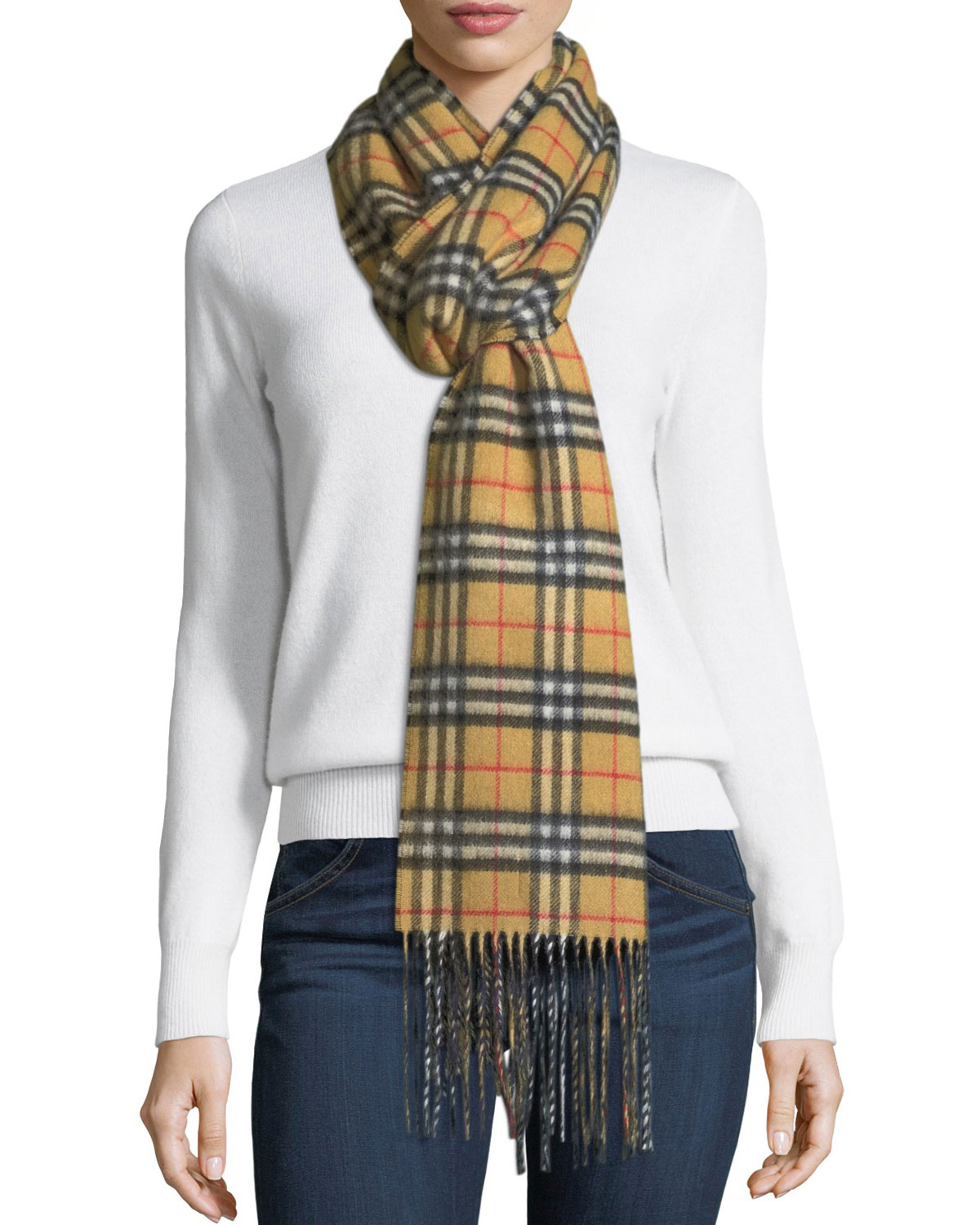 f6d835b1549 Burberry Cashmere Reversible Vintage Check Pattern Scarf