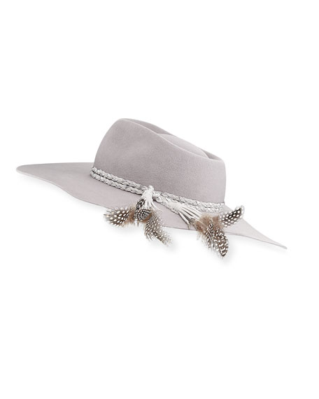Pallenberg Felt Hat w/ Braided Band & Feather Tassel Trim