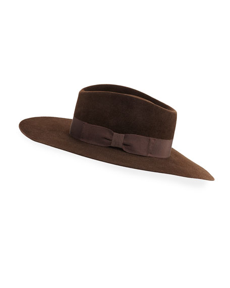 Gladys Tamez Faye Felt Panama Hat w/ Grosgrain