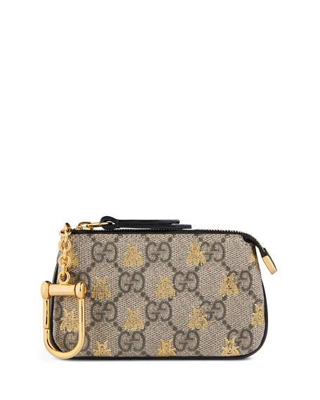 Gucci Linea A GG Supreme Bee Key Case