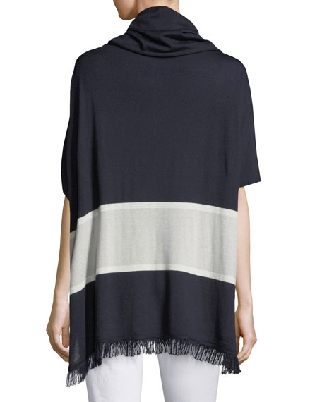 Cashmere-Blend Striped Cowl-Neck Poncho