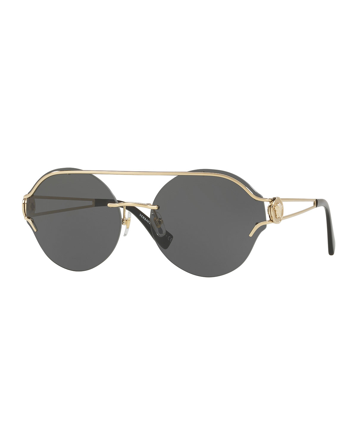 352f8e31dfb Versace Round Rimless Open-Temple Sunglasses