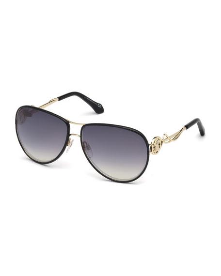 Roberto Cavalli Intertwining Gradient Aviator Sunglasses, Black