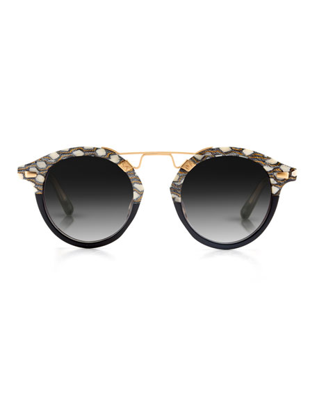 STL II Two-Tone Round Acetate Sunglasses, Black Pattern