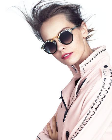 STL II Two-Tone Round Acetate Sunglasses, Black Pattern