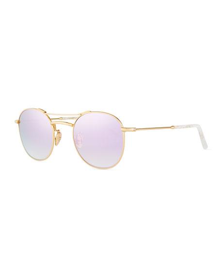 Orleans Round Mirrored Titanium Sunglasses