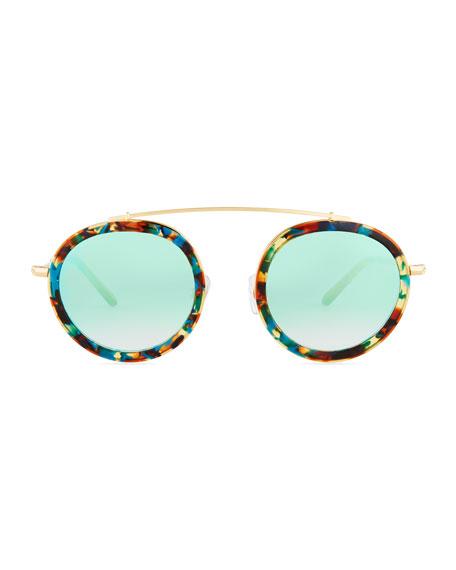 Conti Mirrored Round Aviator Sunglasses, Multi Pattern