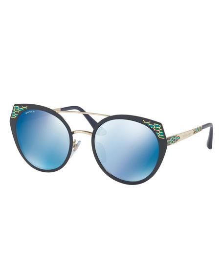 Serpenti Round Mitered Metal Sunglasses, Blue