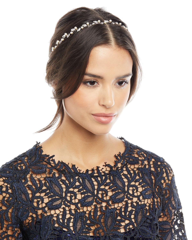 Jennifer Behr Lina Swarovski® Crystal   Pearl Circlet Headband ... 0bdddfd436b