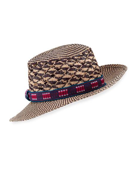 Nadia Chevron Straw Fedora Hat
