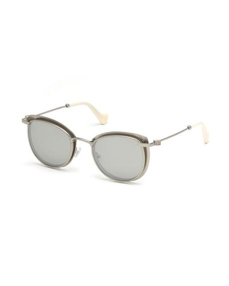 Moncler Metal Cat-Eye Mirrored Sunglasses, Gray Pattern