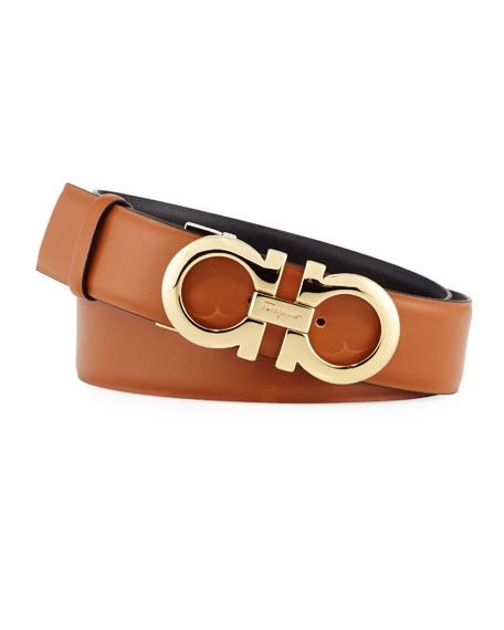 Gancini-Buckle Leather Reversible Belt