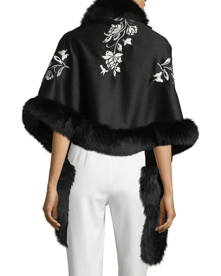 Cashmere Floral Embroidered Shawl w/ Fur Trim