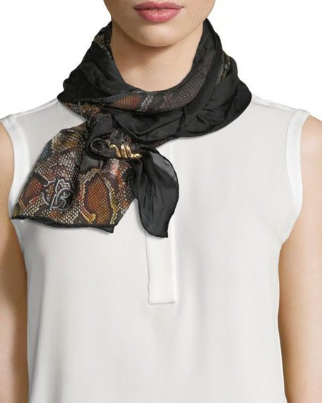 Roberto Cavalli Woven Python-Print Silk Scarf, Brown/Orange