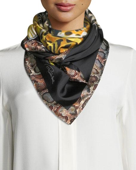 Roberto Cavalli Mariposa Foulard Silk Woven Scarf, Black