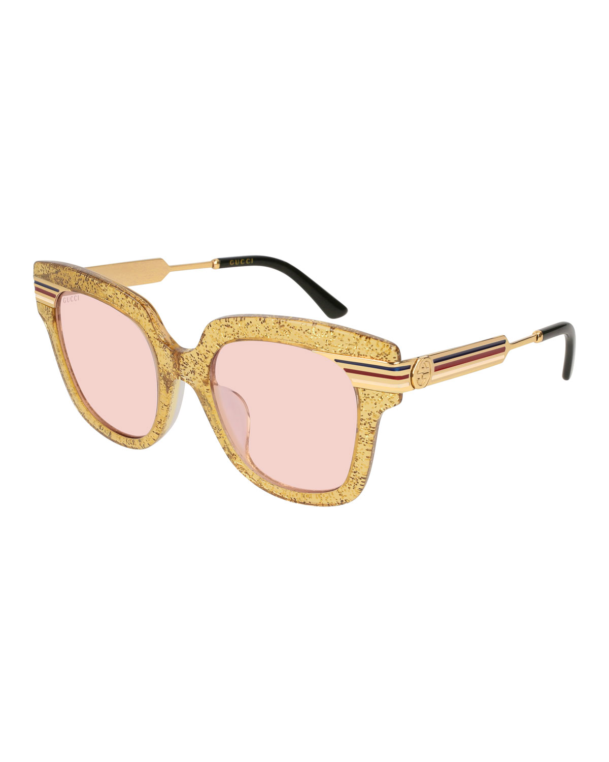 3b1f2818db7a Gucci Metal & Glittered Acetate Square Sylvie Web Sunglasses, Gold ...