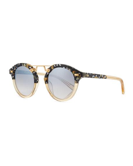 KREWE STL II Round Mirrored Sunglasses, Champagne
