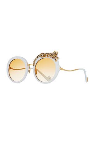 Anna-Karin Karlsson Rose et la Roue Round Crystal-Embellished Leopard Sunglasses