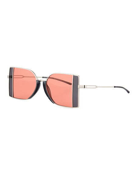 CALVIN KLEIN 205W39NYC Rectangle Metal Sunglasses w/ Window