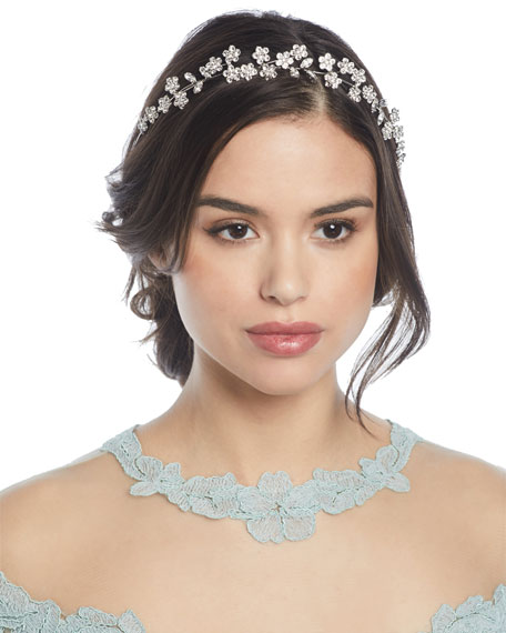 Jennifer Behr Adelie Crystal Leaf Circlet Headband