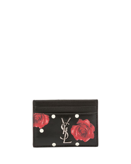 Saint Laurent Rose-Print Dotted Card Case