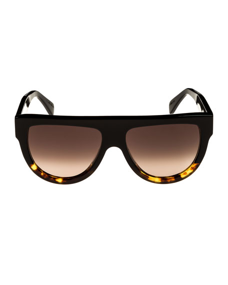 Flattop Two-Tone Shield Sunglasses