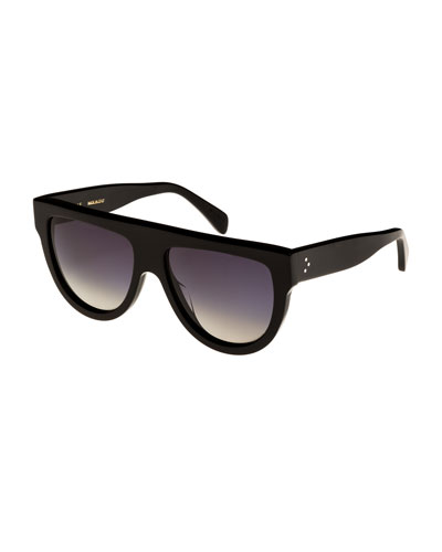 Flattop Gradient Shield Universal-Fit Sunglasses  Black Pattern