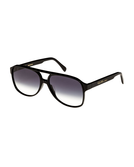 Gradiant Acetate Aviator Sunglasses, Black