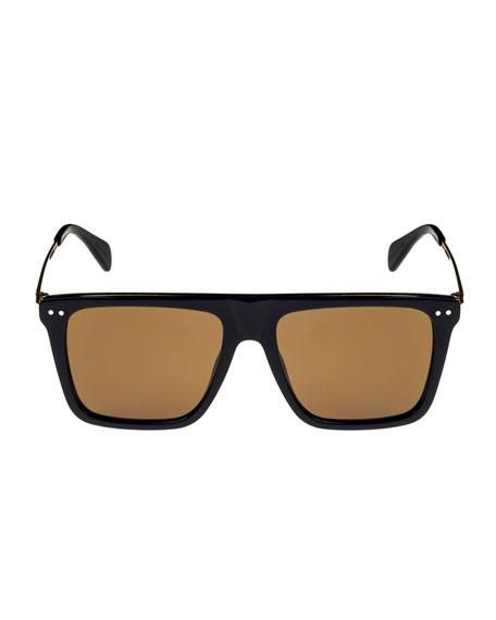 Bold Rectangular Acetate/Metal Sunglasses