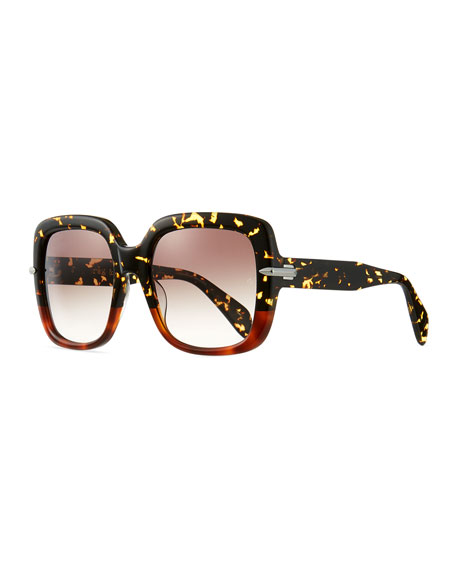 Rag & Bone Square Polarized Acetate Sunglasses w/ Metal Trim